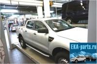 Пороги алюминиевые (Alyans) Ford Ranger (2012-) 4 дв. - Интернет магазин запчастей Volvo и Land Rover,  продажа запасных частей DISCOVERY, DEFENDER, RANGE ROVER, RANGE ROVER SPORT, FREELANDER, VOLVO XC90, VOLVO S60, VOLVO XC70, Volvo S40 в Екатеринбурге.