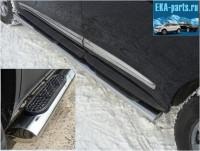 Пороги овальные с накладкой 120х60 мм для Infiniti JX 35 2013 - Интернет магазин запчастей Volvo и Land Rover,  продажа запасных частей DISCOVERY, DEFENDER, RANGE ROVER, RANGE ROVER SPORT, FREELANDER, VOLVO XC90, VOLVO S60, VOLVO XC70, Volvo S40 в Екатеринбурге.