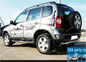 Пороги труба d76 с накладками (без арок) для ВАЗ 21213 - Интернет магазин запчастей Volvo и Land Rover,  продажа запасных частей DISCOVERY, DEFENDER, RANGE ROVER, RANGE ROVER SPORT, FREELANDER, VOLVO XC90, VOLVO S60, VOLVO XC70, Volvo S40 в Екатеринбурге.